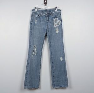 Miss Me Patch Embroidered Bootcut Jeans - size 6